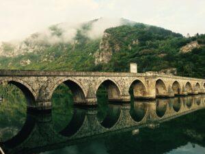 bridge, crossing, reflection