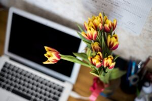 flowers, computer, laptop