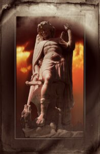 statue, archangel michael, dragon sword