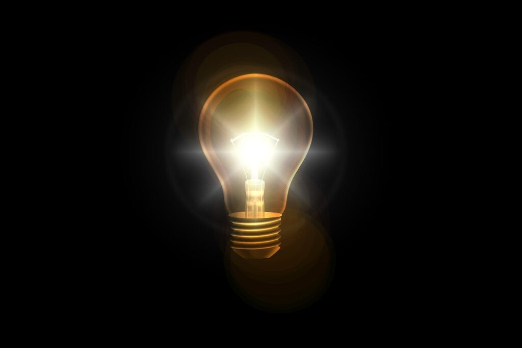 light bulb, think, idea
